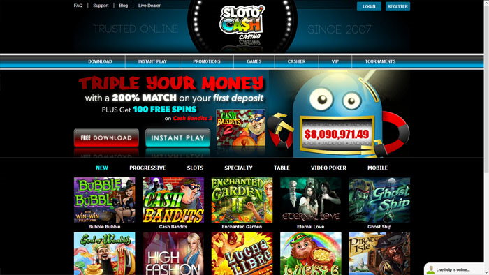 SlotoCash Homepage